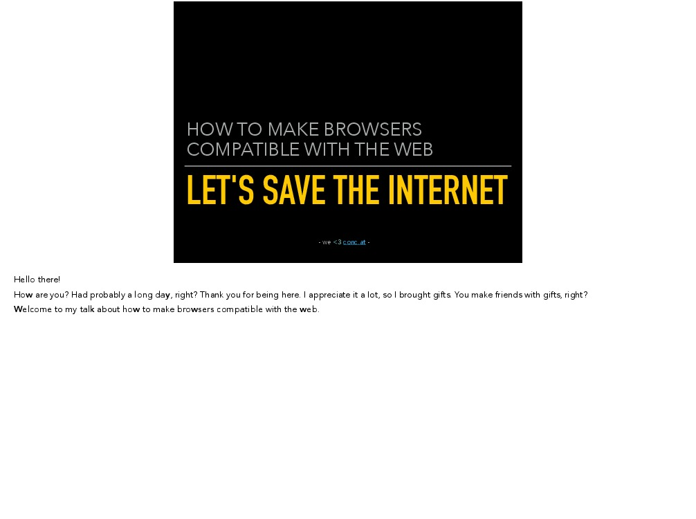 Let's save the internet - (with full speaker notes)