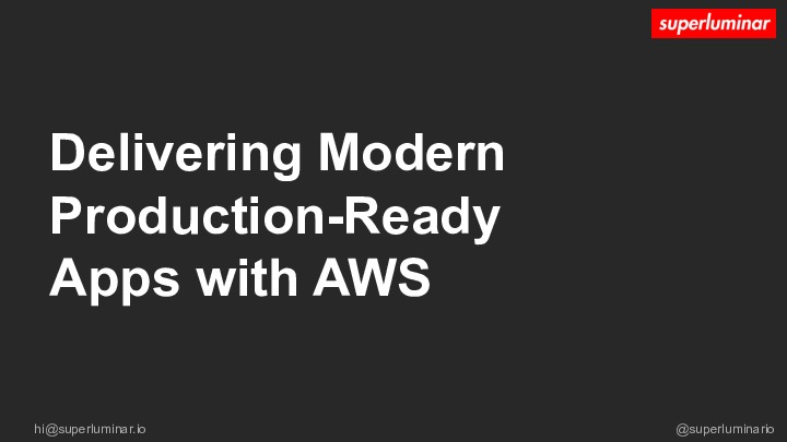 Delivering Modern Production-Ready Apps with AWS