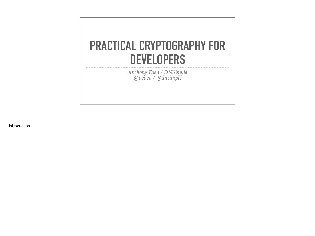 Practical Cryptography for Developers