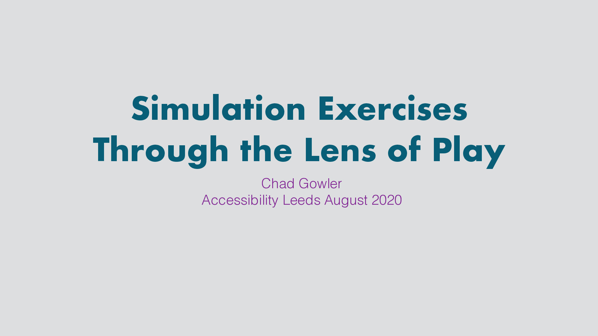 Simulation exercises through the lens of play