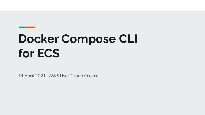 Docker Compose CLI for ECS