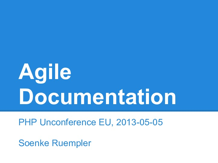 Agile documentation