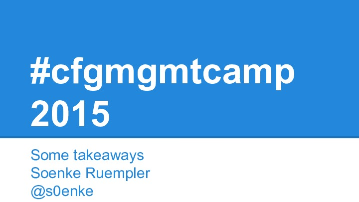 cfgmgmtcamp recap for Ansible Usergroup Hamburg