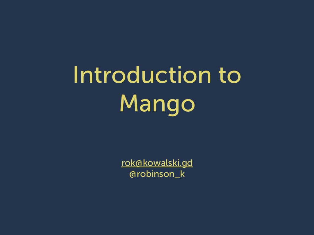Intro to CouchDB Mango