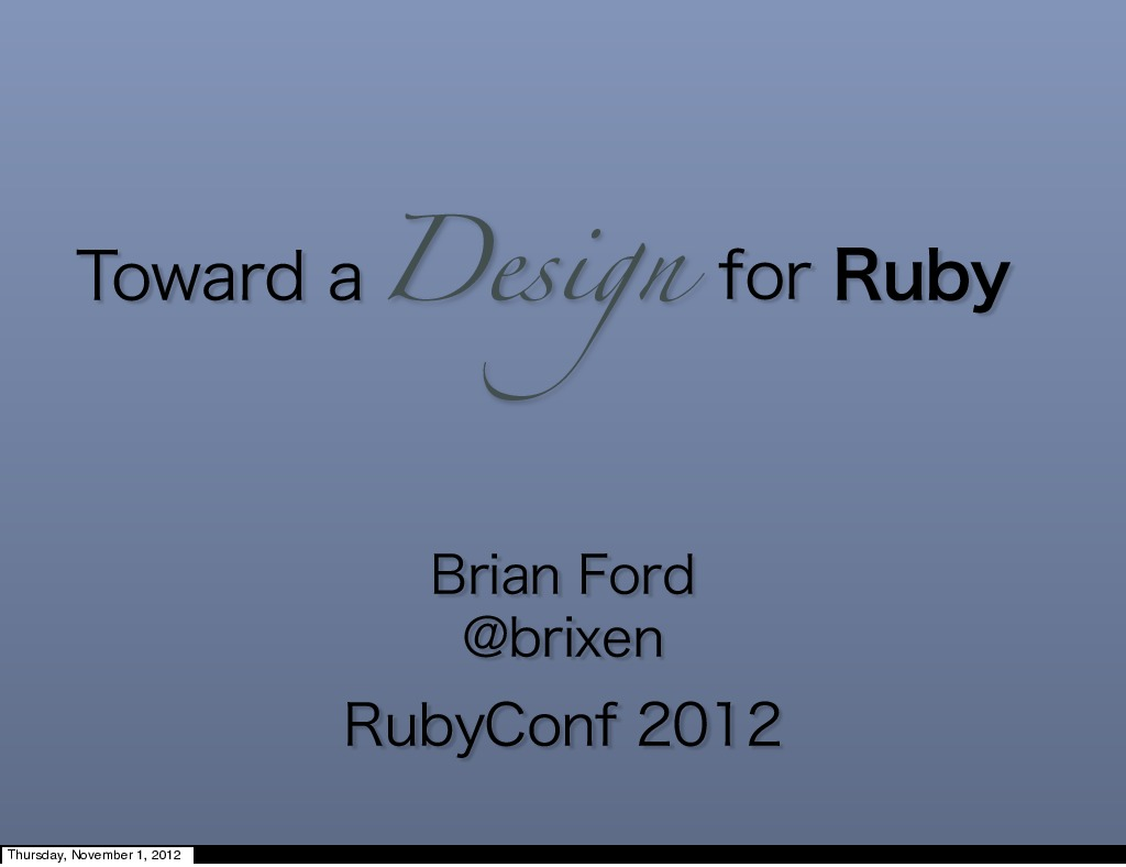Toward a Design for Ruby