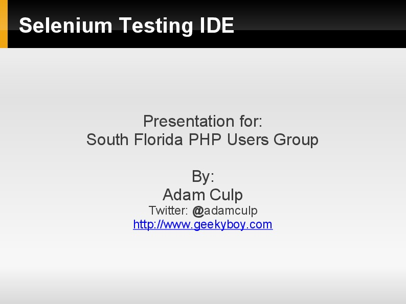 Testing with Selenium IDE