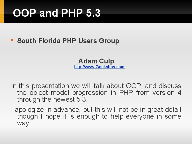 Intro to OOP and PHP 5.3